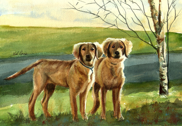 Watercolor painting of Ginger and Trixie