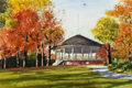 painting of farquhar park in fall.