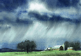 painting of rain coming over farm.