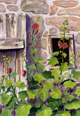 painting of hollyhock