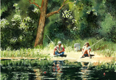 painting of couple on hot day fishing.