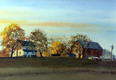 painting of farm in fall.