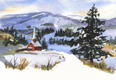 painting of church steeple in snow.