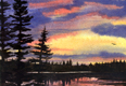 painting of sunset over lake.